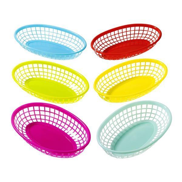 6 petits paniers colorés