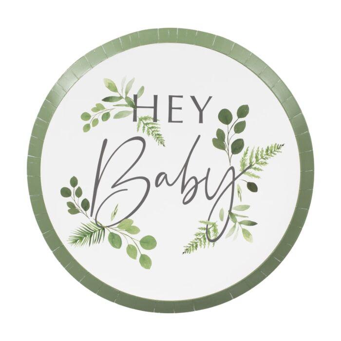 8 assiettes en carton baby shower botanique