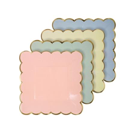 8 assiettes dessert carrées pastel