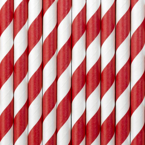 10 pailles papier à rayures rouge