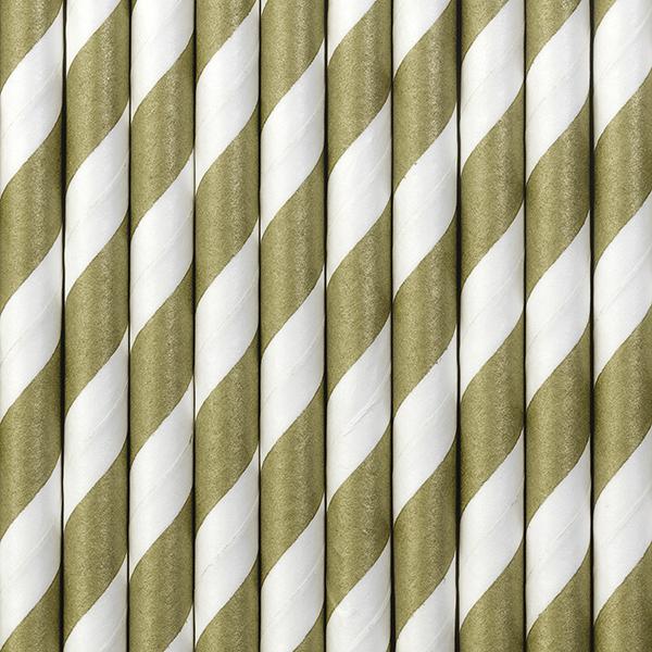 10 pailles rétro à rayures dorées