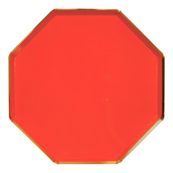 8 assiettes carton rouges