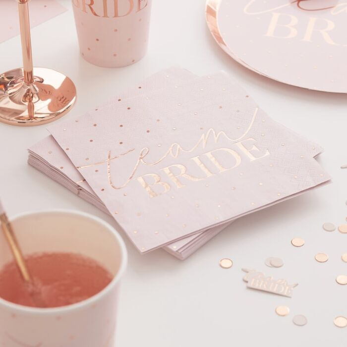 16 serviettes papier Team Bride rose pastel