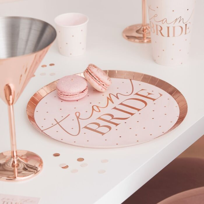 8 assiettes EVJF rose gold et pastel