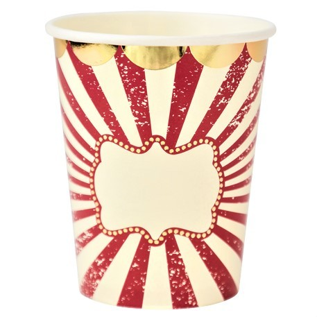 8 gobelets carton rayure rouge