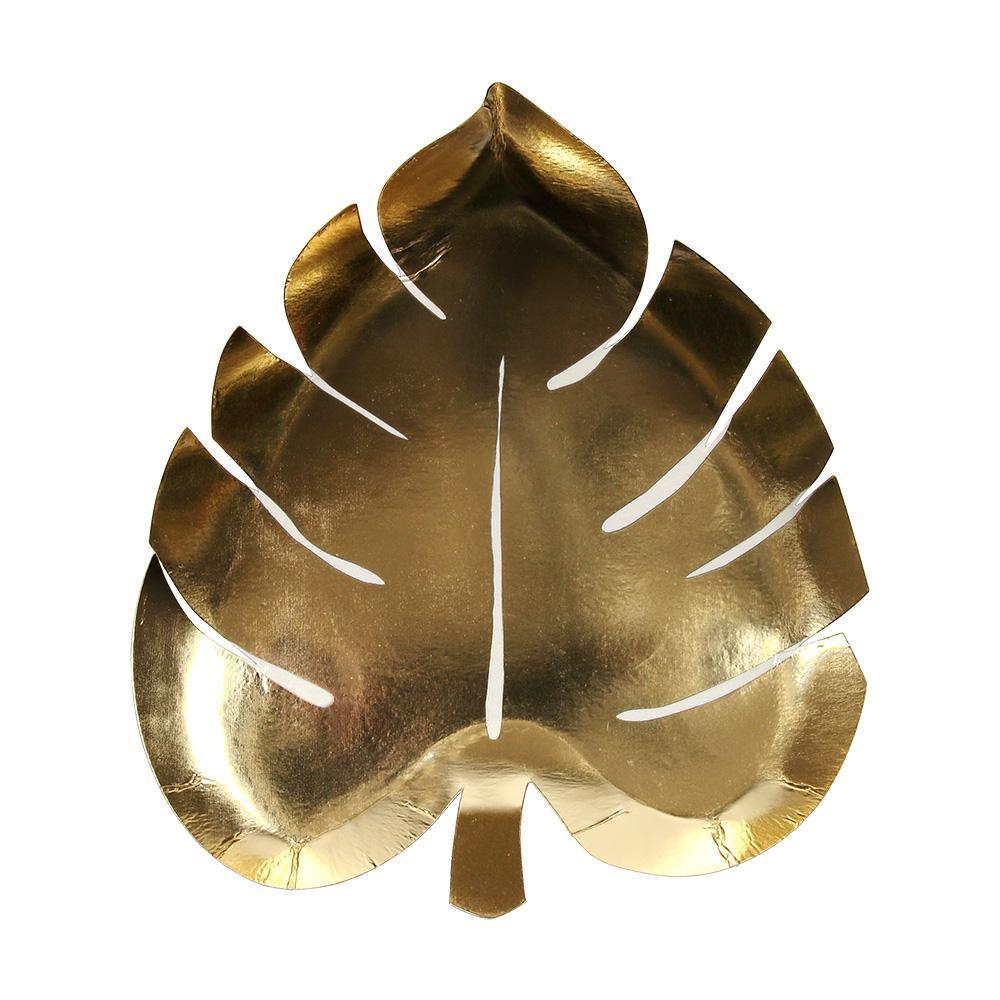 8 assiettes carton feuille tropicale dorés