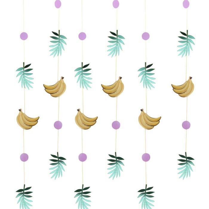 Rideau de fête bananes et feuilles dorées