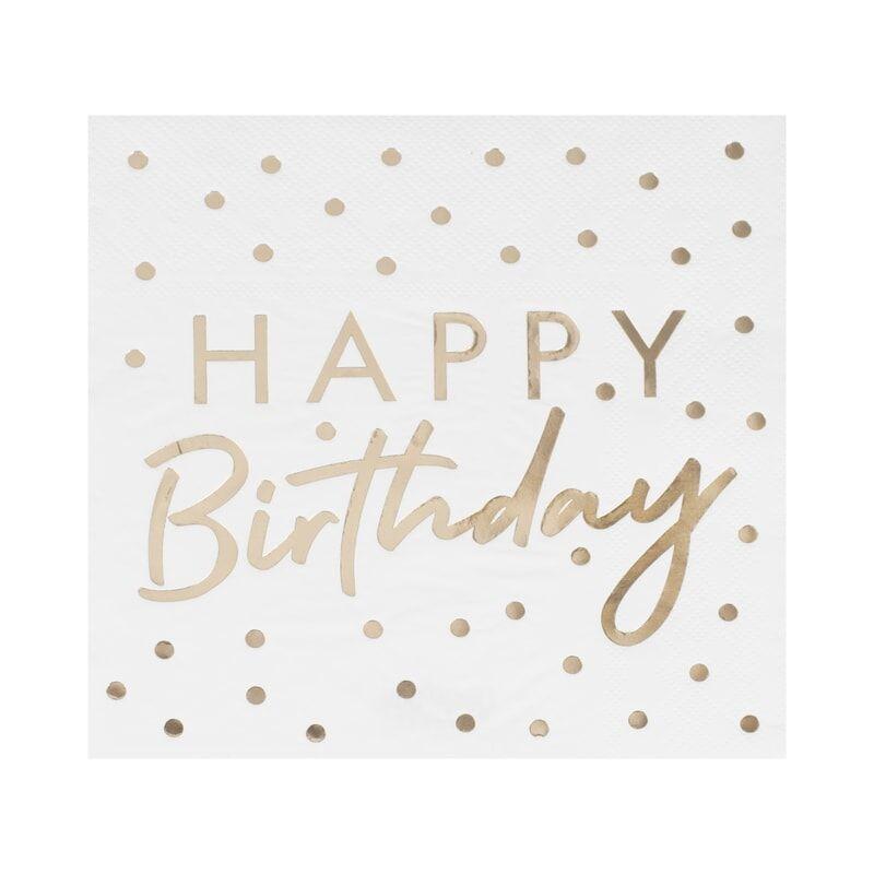 16 serviettes blanches et dorées Happy Birthday