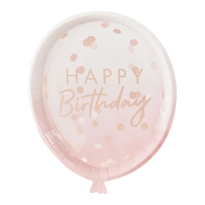 8 assiettes ballon rose gold Happy Birthday