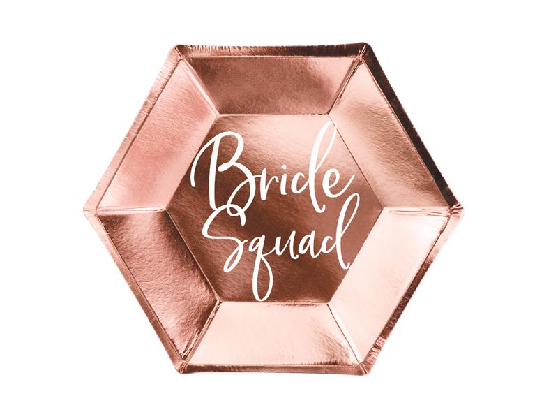 6 assiettes evjf rose gold Bride Squad