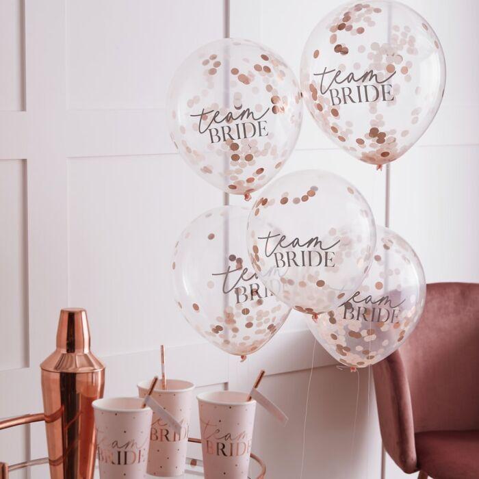 5 ballons confettis rose gold Team Bride