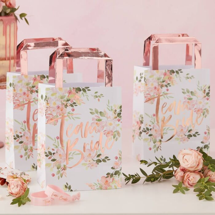5 sac en papier imprimé fleuri