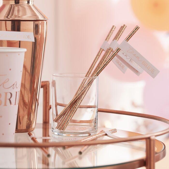16 pailles Team Bride en papier rose gold