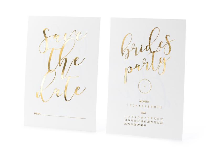 10 invitations EVJF blanches et dorées