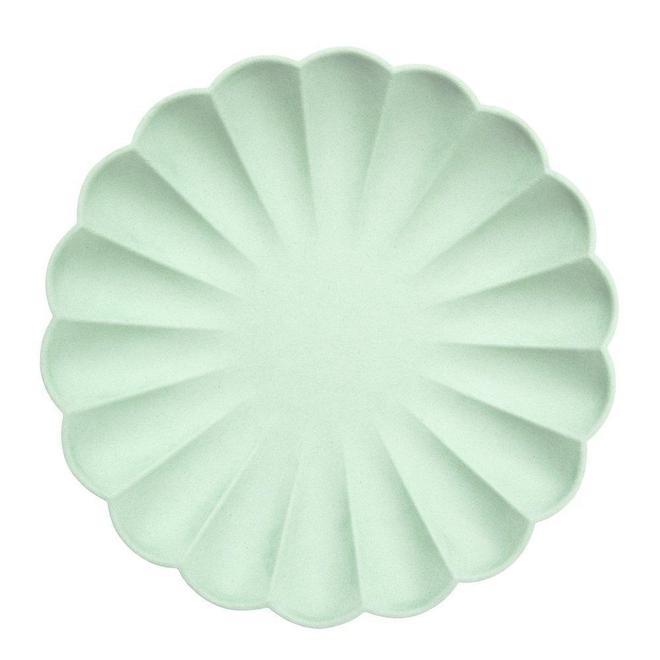 8 assiettes biodégradables vert menthe