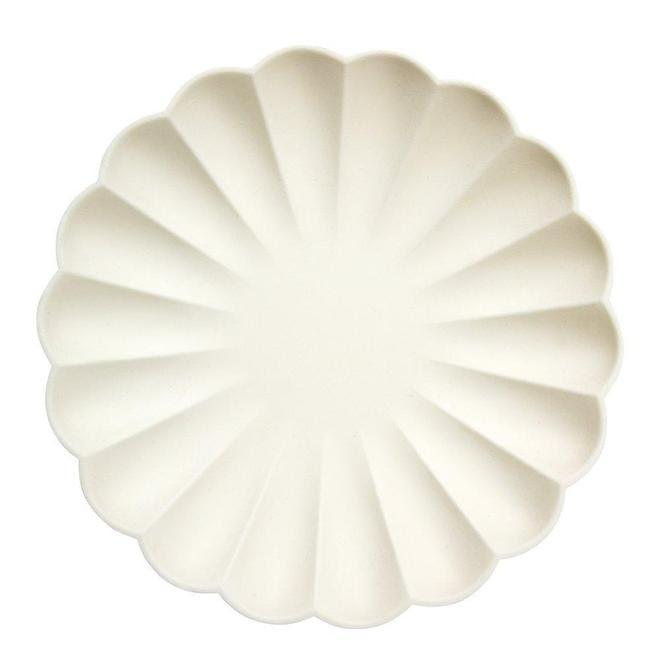 8 assiettes biodégradables crème