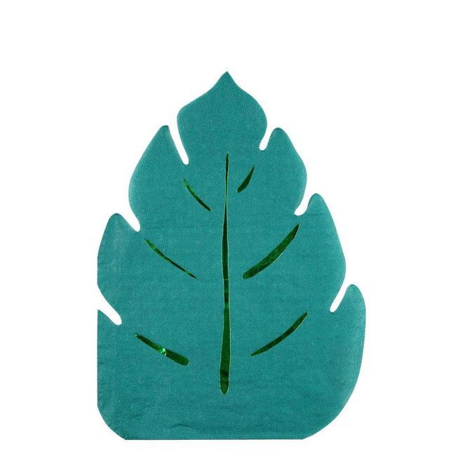 16 longues serviettes feuilles