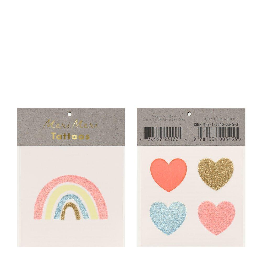 5 tatouages temporaires coeur et arc-en-ciel
