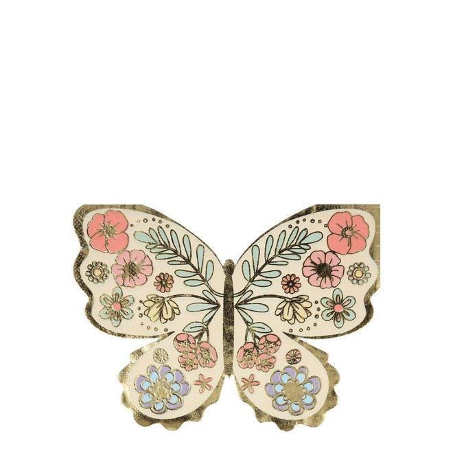 16 serviettes papillons