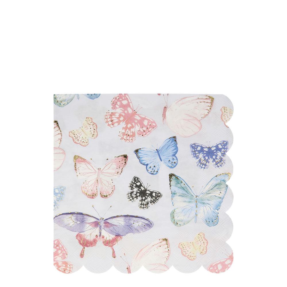 16 serviettes papier motifs papillons