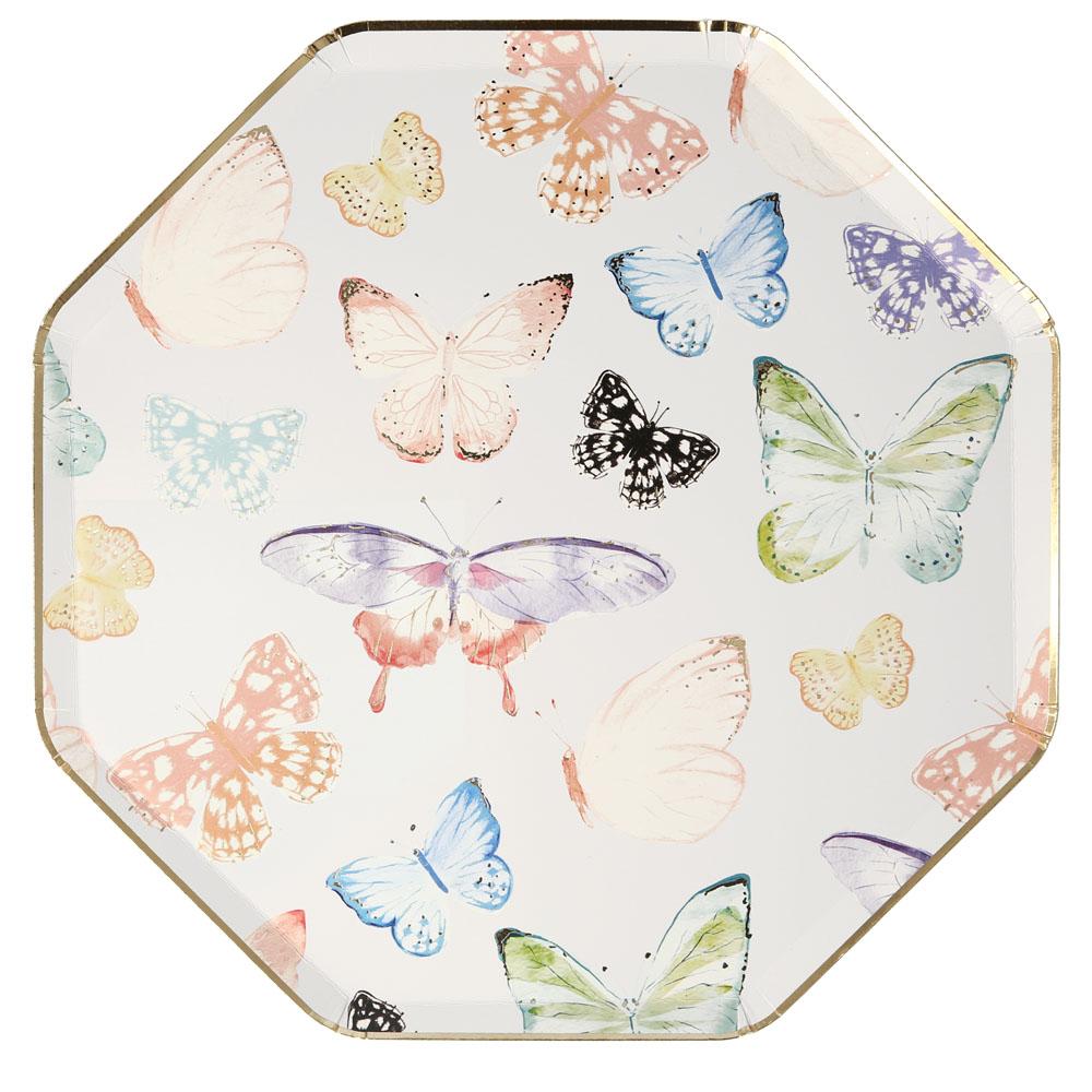 8 assiettes en carton motifs papillons