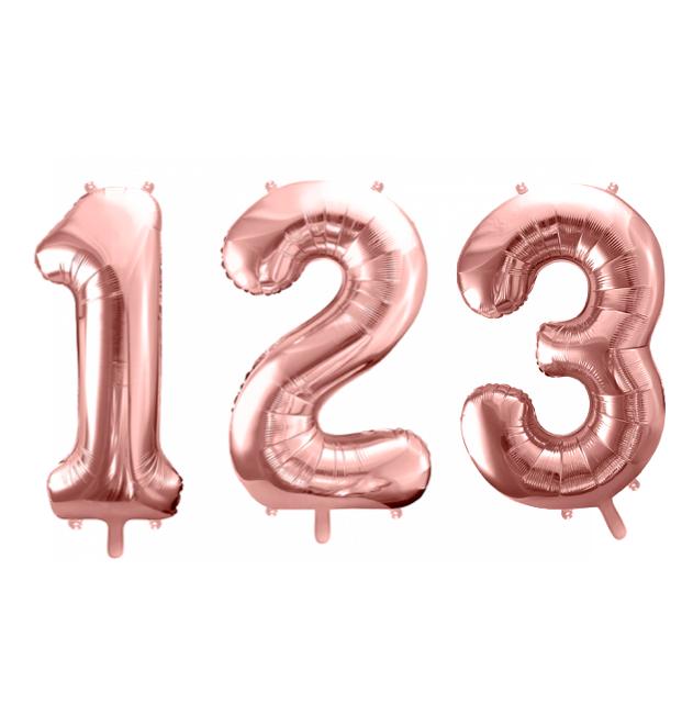 Ballon chiffre 0 à 9 en aluminium rose doré