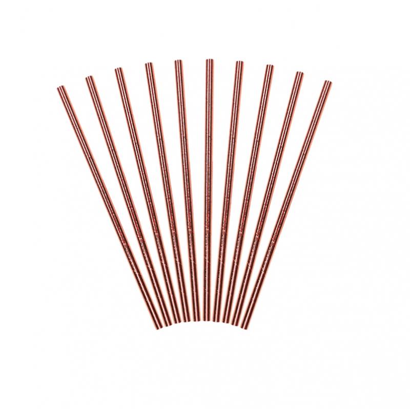 10 pailles en papier métallisé rose doré