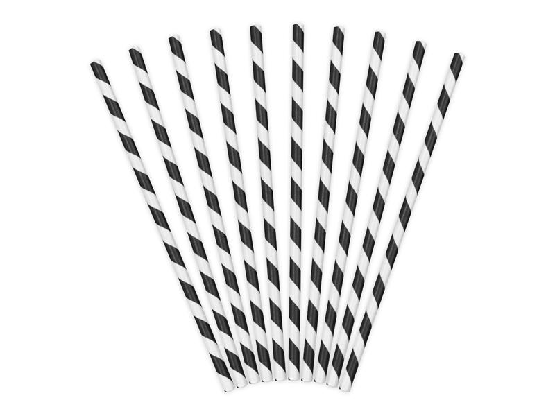 10 pailles rétro à rayures noires