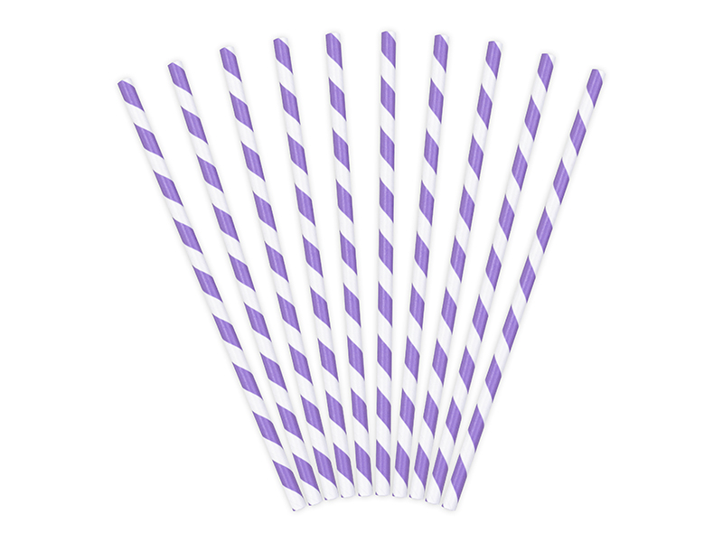 25 pailles en papier rayé mauve