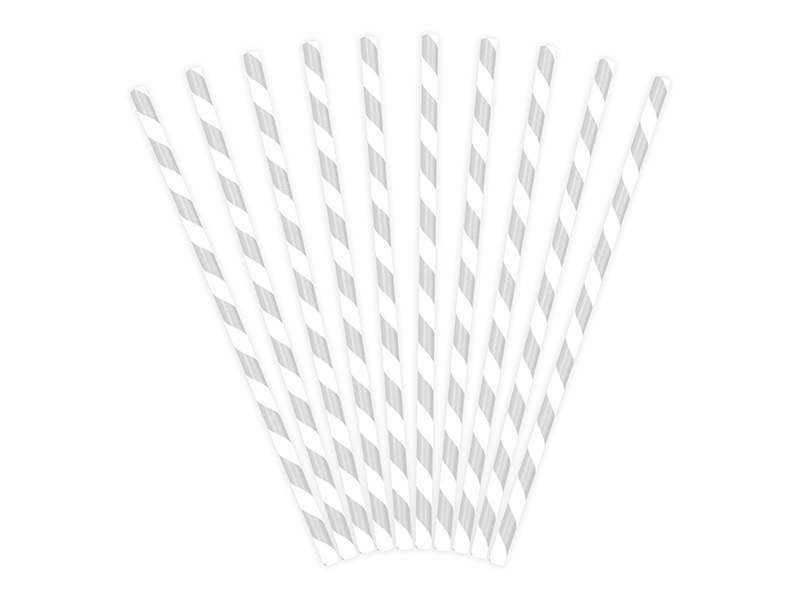25 pailles rayé en papier gris