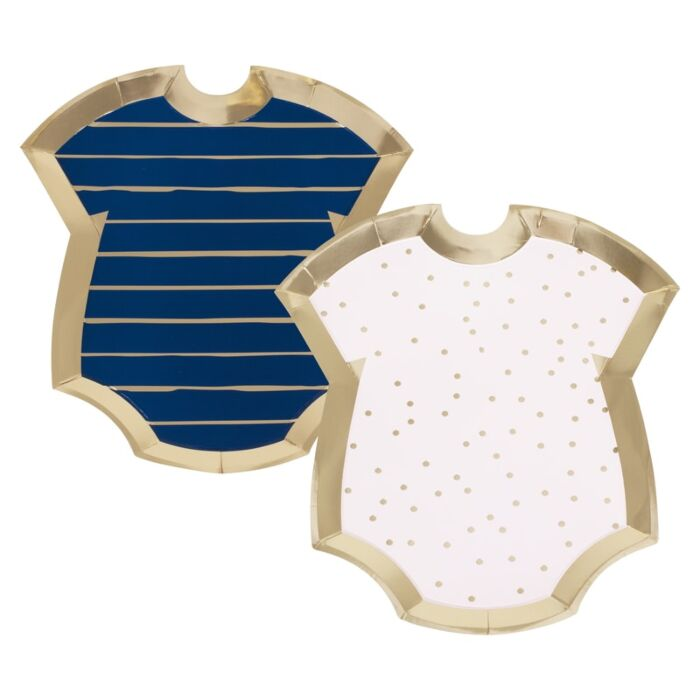 8 assiettes baby shower body rose et bleu