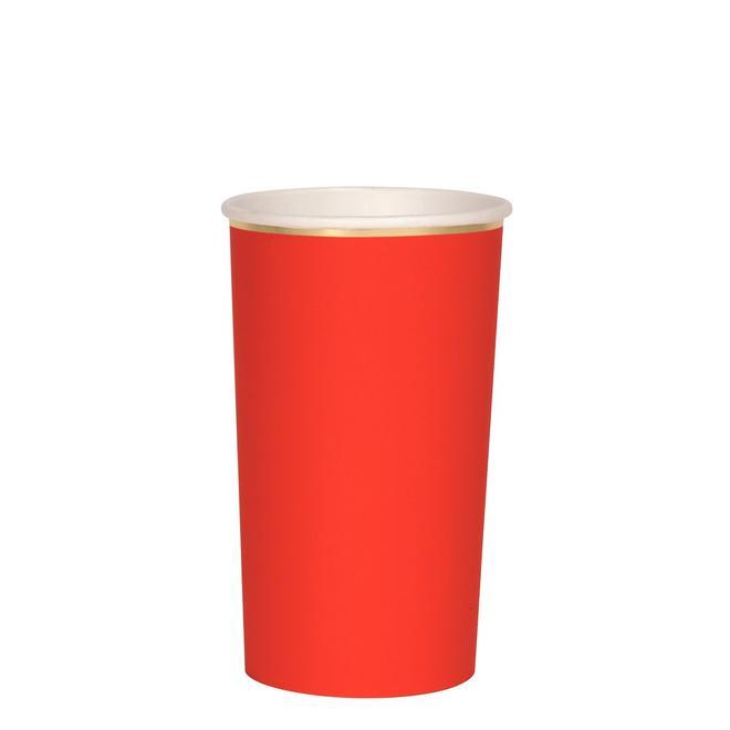 8 grands gobelets carton uni rouge