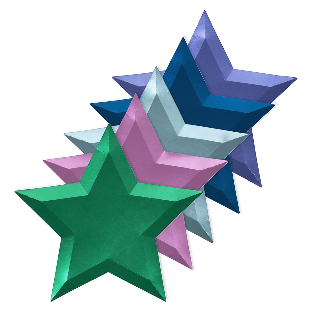 8 grandes assiettes étoiles métallisées