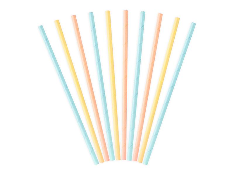 10 pailles en papier assortiment pastel