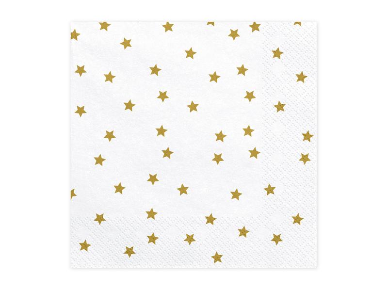 20 serviettes blanches à étoiles dorées