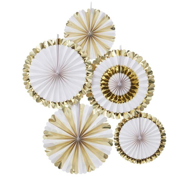 5 suspensions rosaces en papier rigide blanc et doré