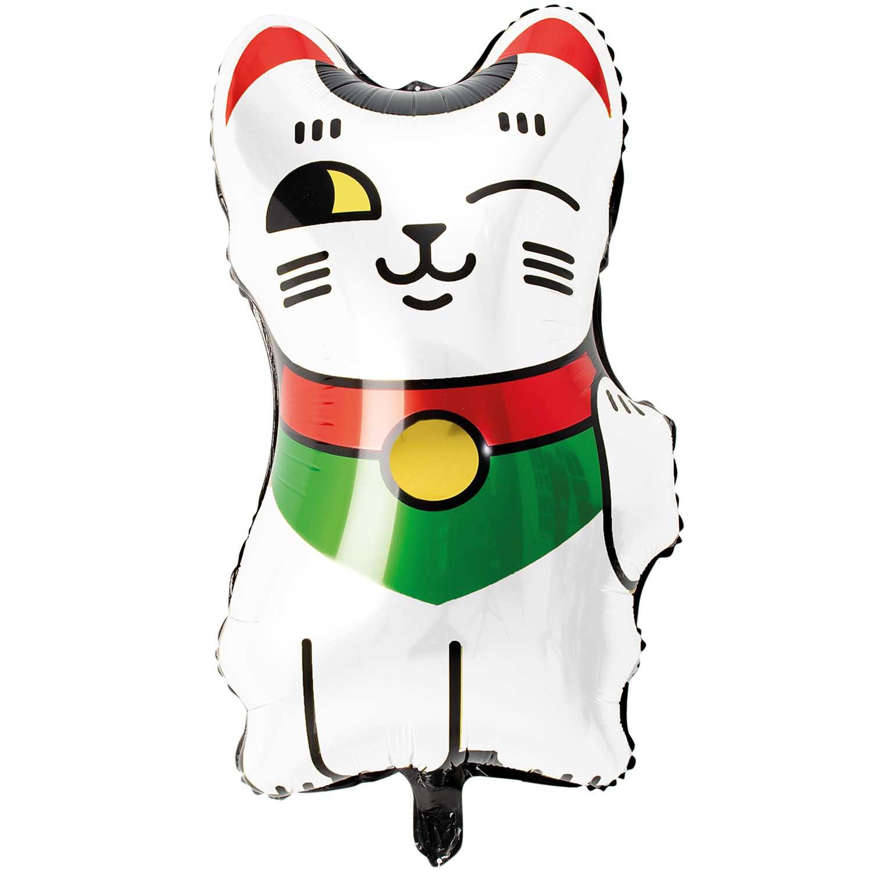 Ballon chat porte bonheur blanc