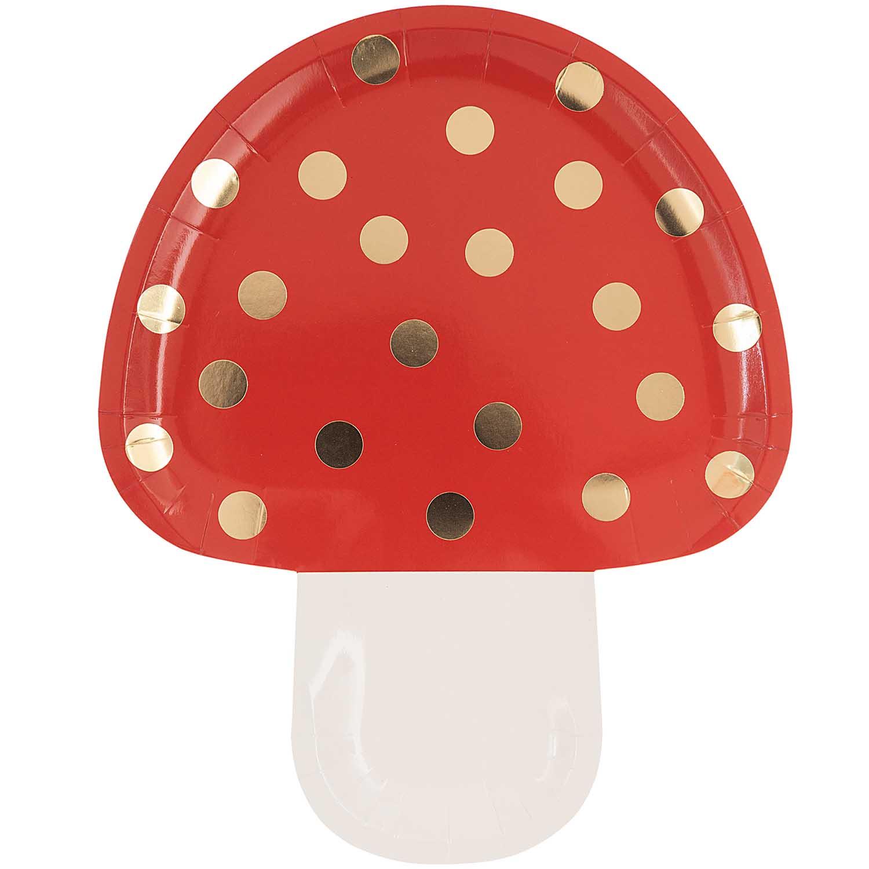 12 assiettes champignon rouge