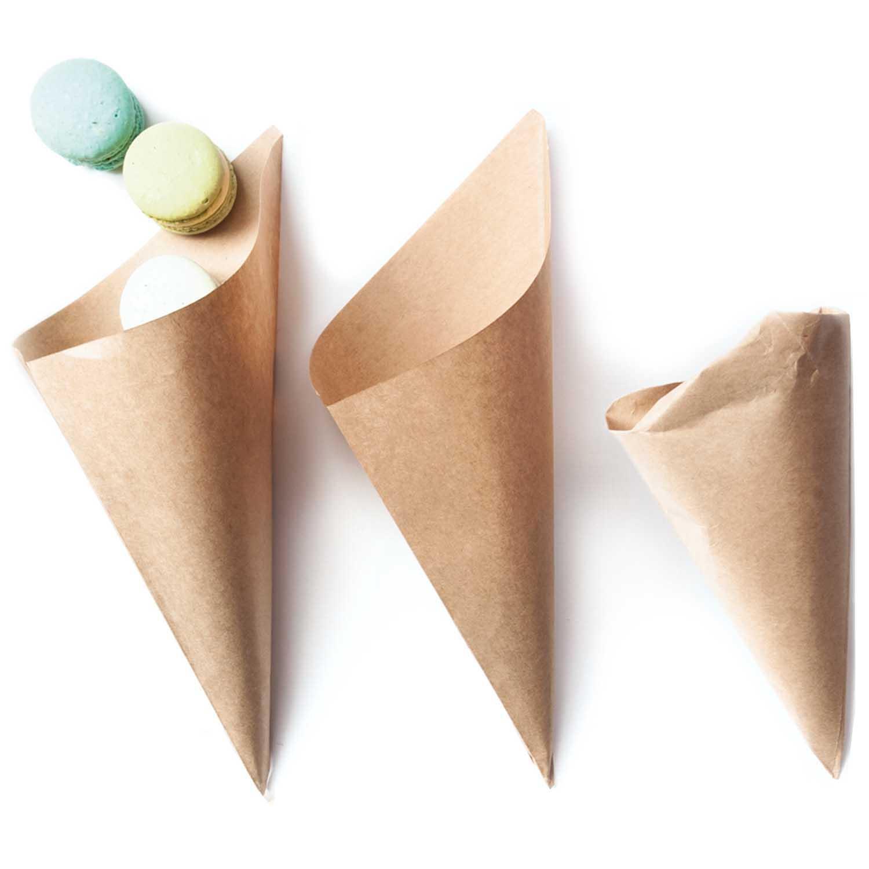15 cônes en papier Kraft