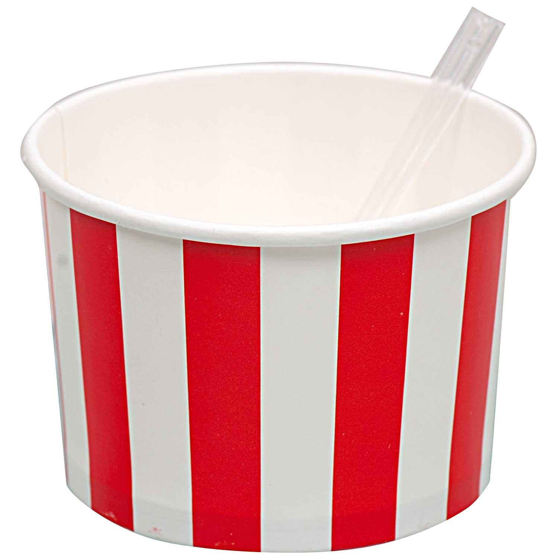 10 pots sundae rayés rouge et blanc