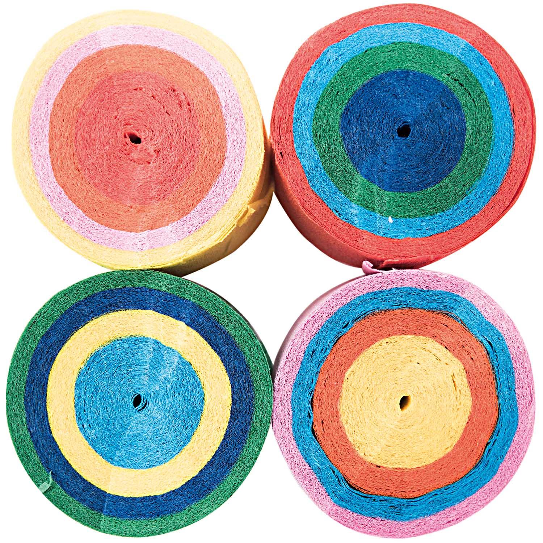 4 rubans de papier crépon multicolores