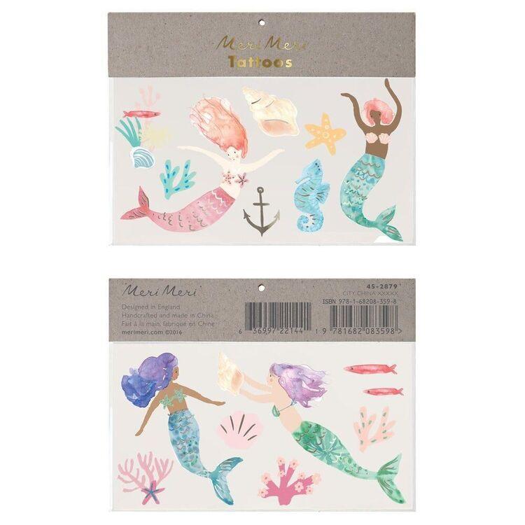 2 planches de tatouages sirène