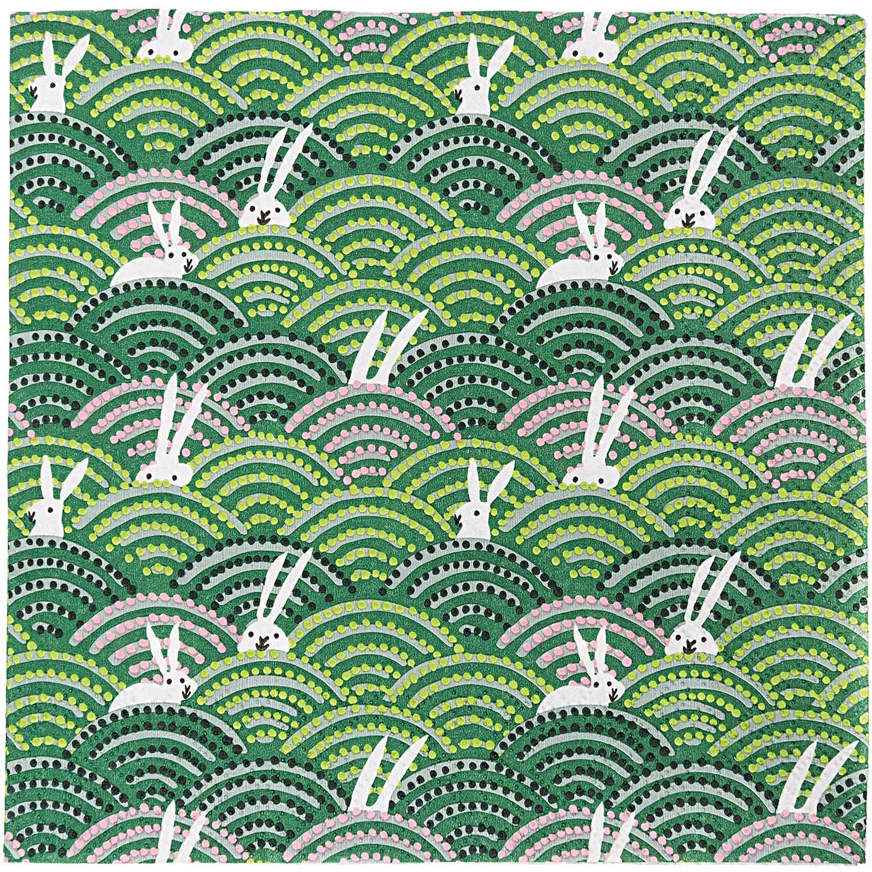 20 serviettes vertes en papier motif lapin