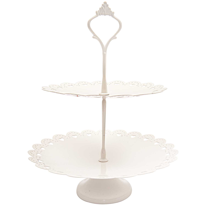 Présentoir à gâteau blanc - 2 niveaux