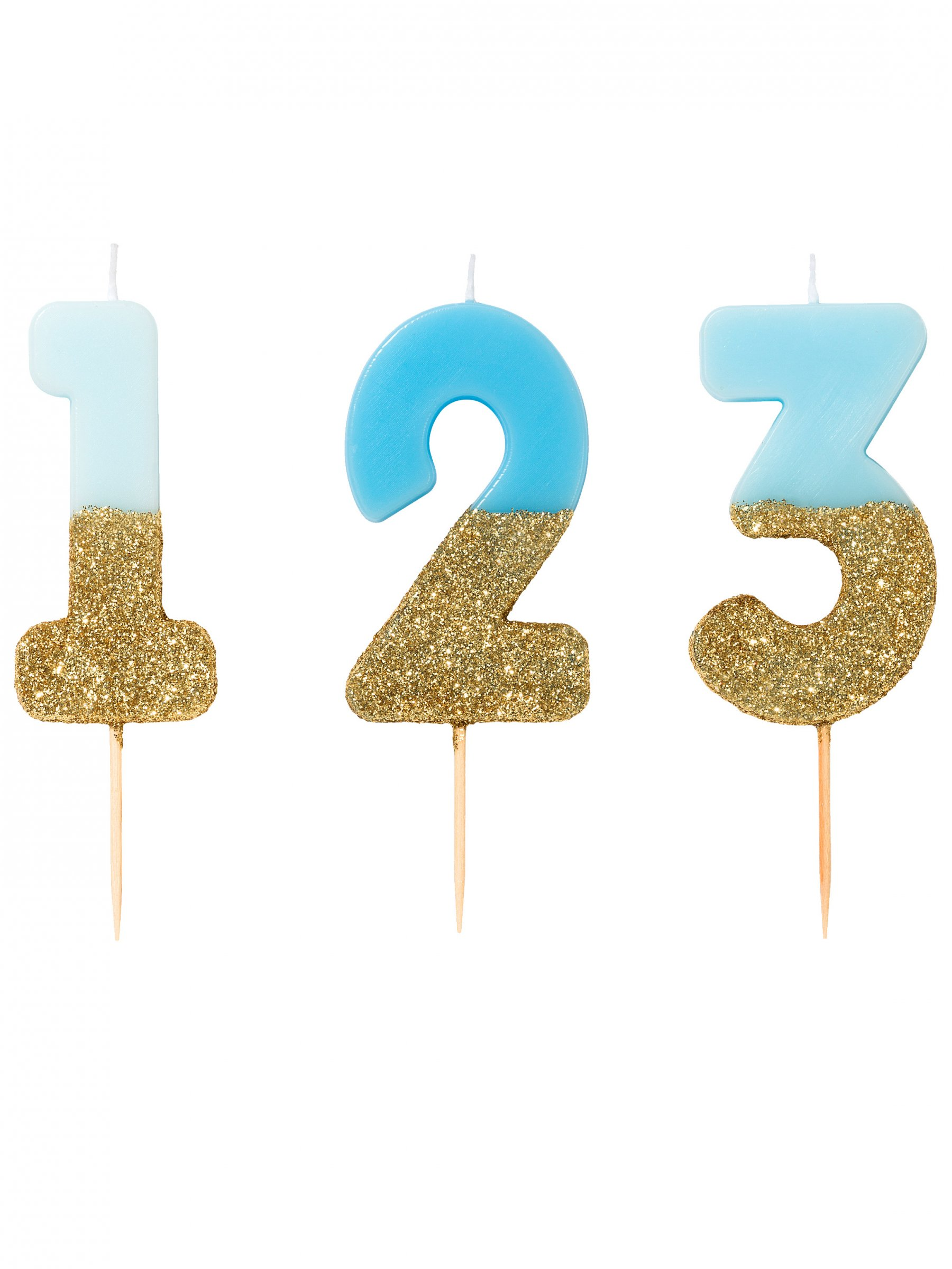 Bougie chiffres bleus et paillettes dorées