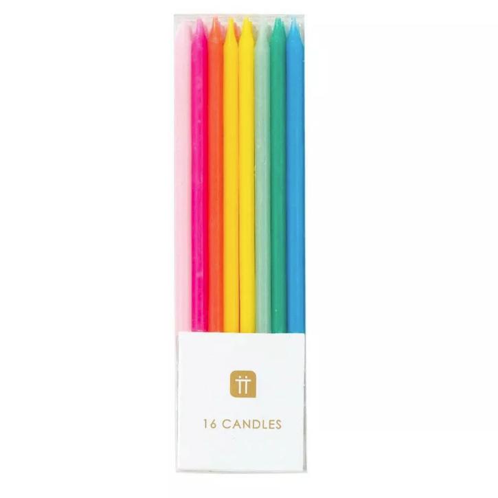 16 bougies anniversaire multicolores