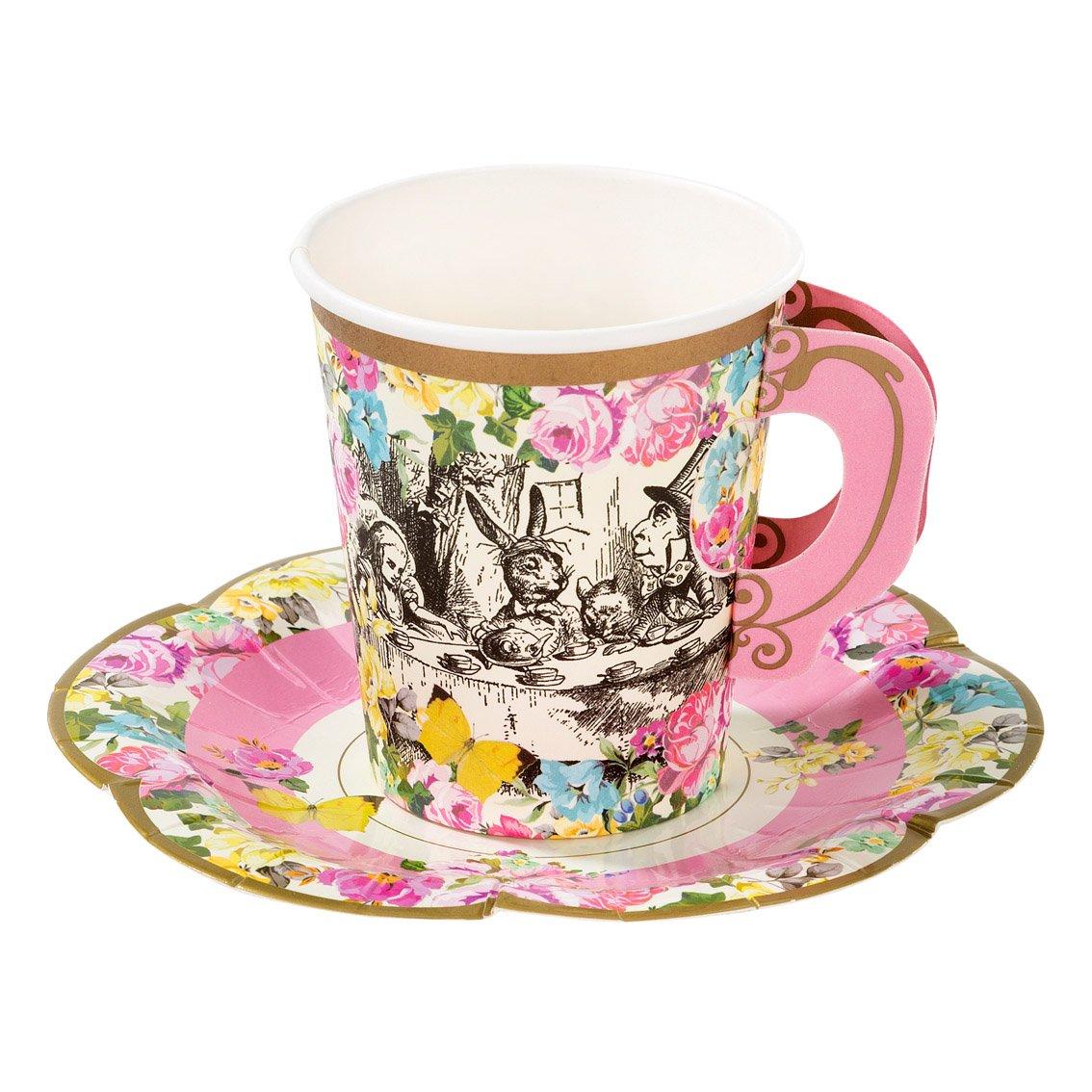 12 tasses en papier avec sous-tasses - Alice