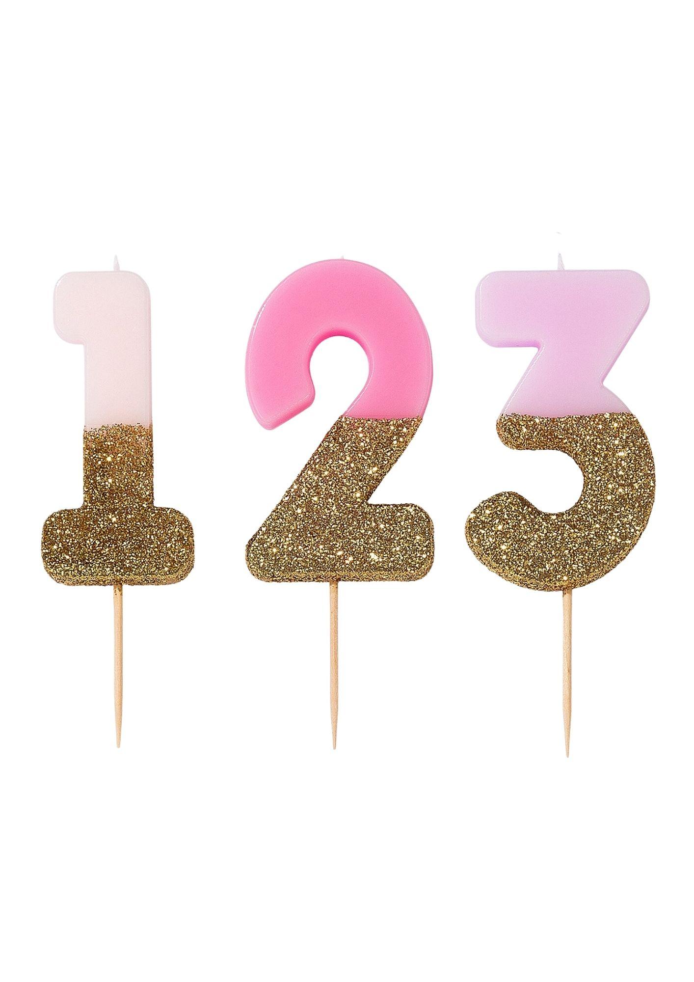 Bougie chiffres roses et paillettes dorées