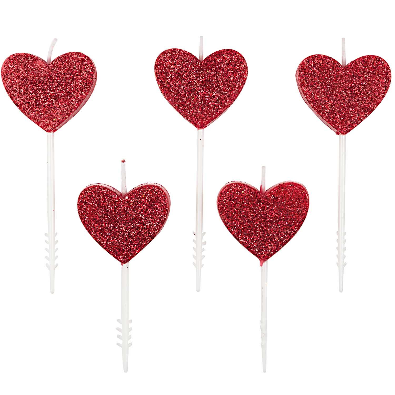 5 bougies coeur paillettes rouges