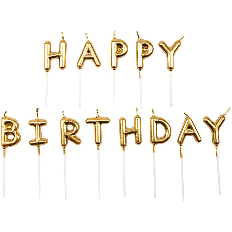 13 bougies dorées - Happy Birthday